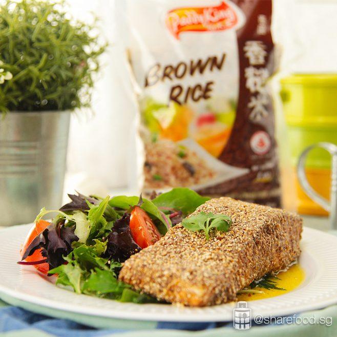 paddyking share food brown rice crust baked salmon