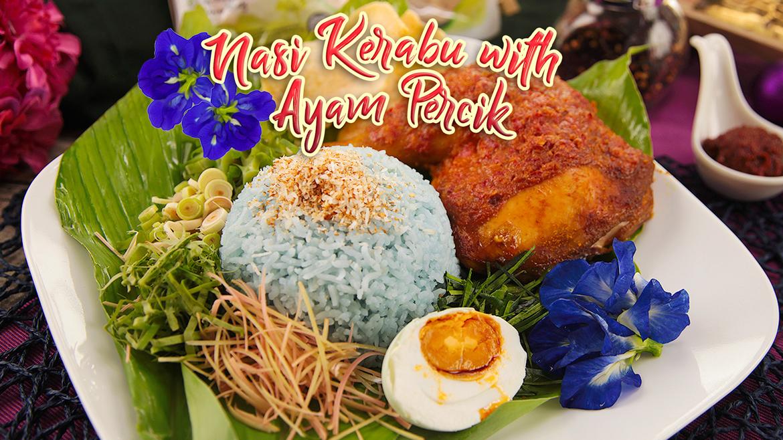 Nasi-kerabu-with-ayam-percik-dish-featured