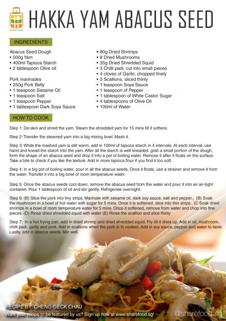 Hakka Yam Abacus Seed recipe
