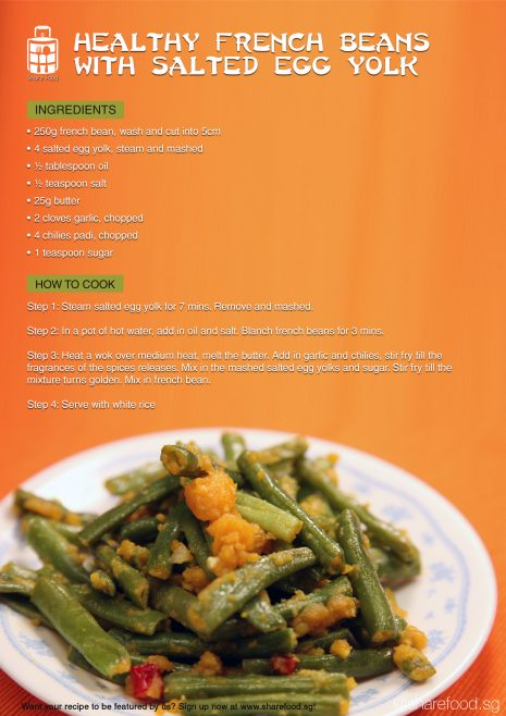 salted egg yolk french beans recipe