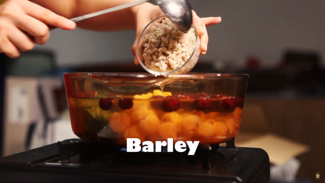 Cook barley for 15 minutes till softened