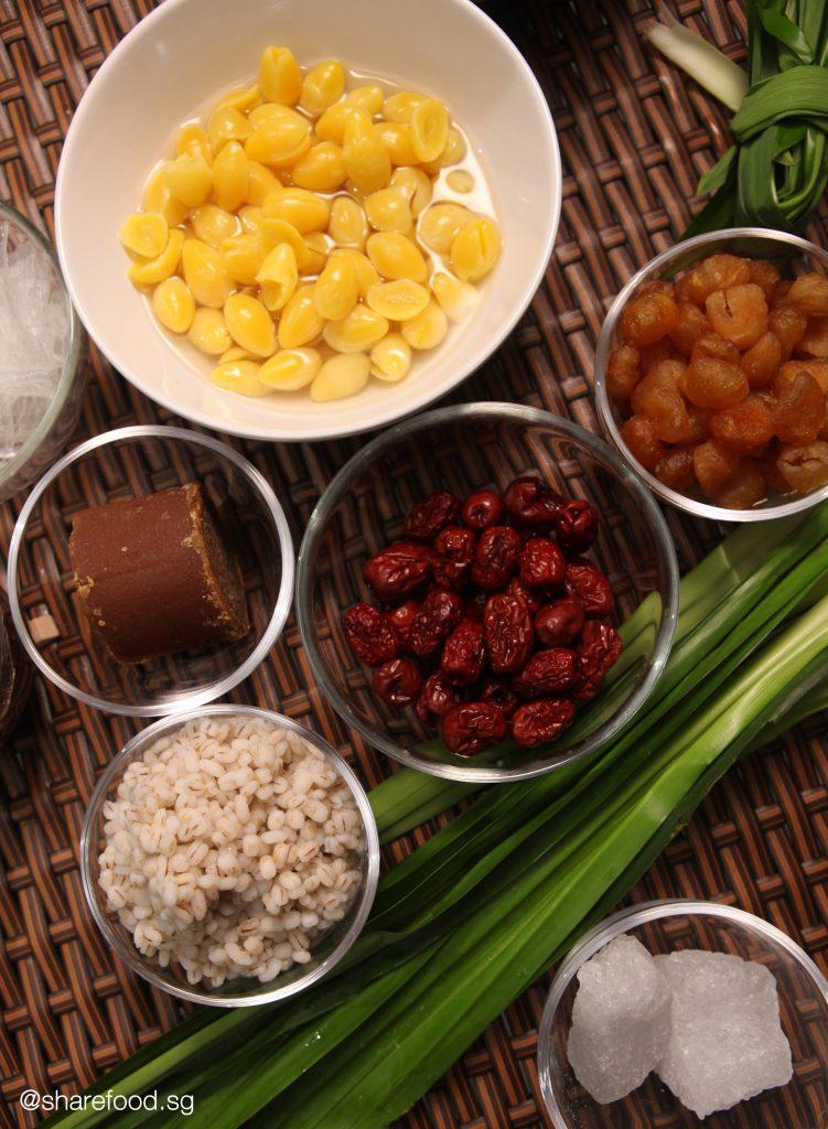 Cheng Tng ingredients top down shot