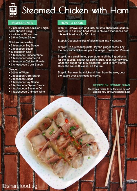 steamed chicken with ham recipe
