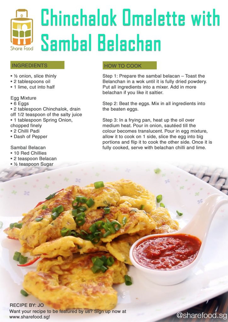 Chinchalok Omelette with Sambal Belachan recipe
