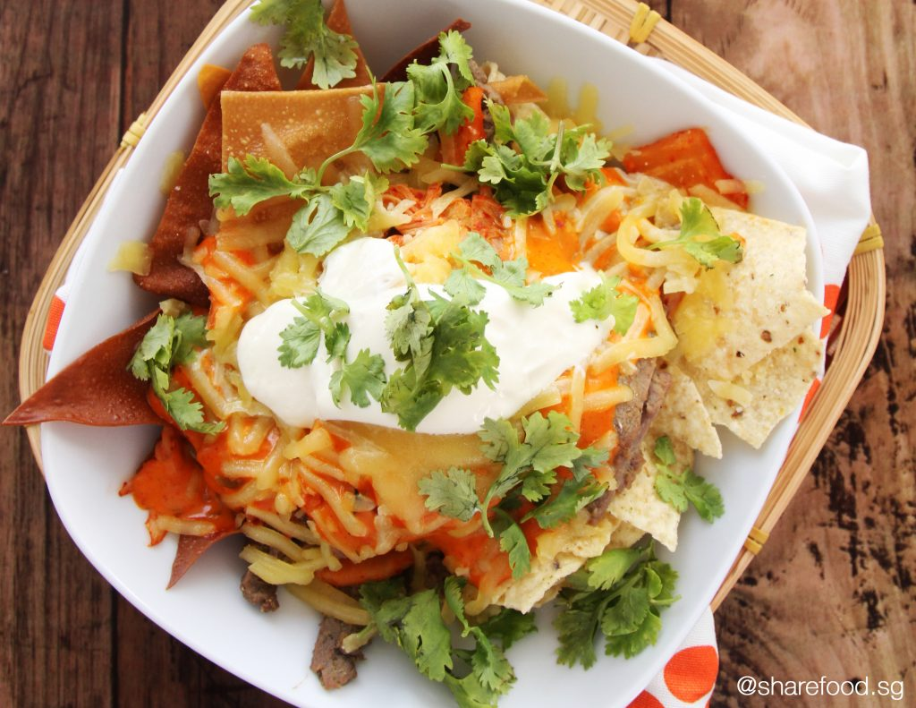Fusion Korean Beef Galbi Nachos top down shot