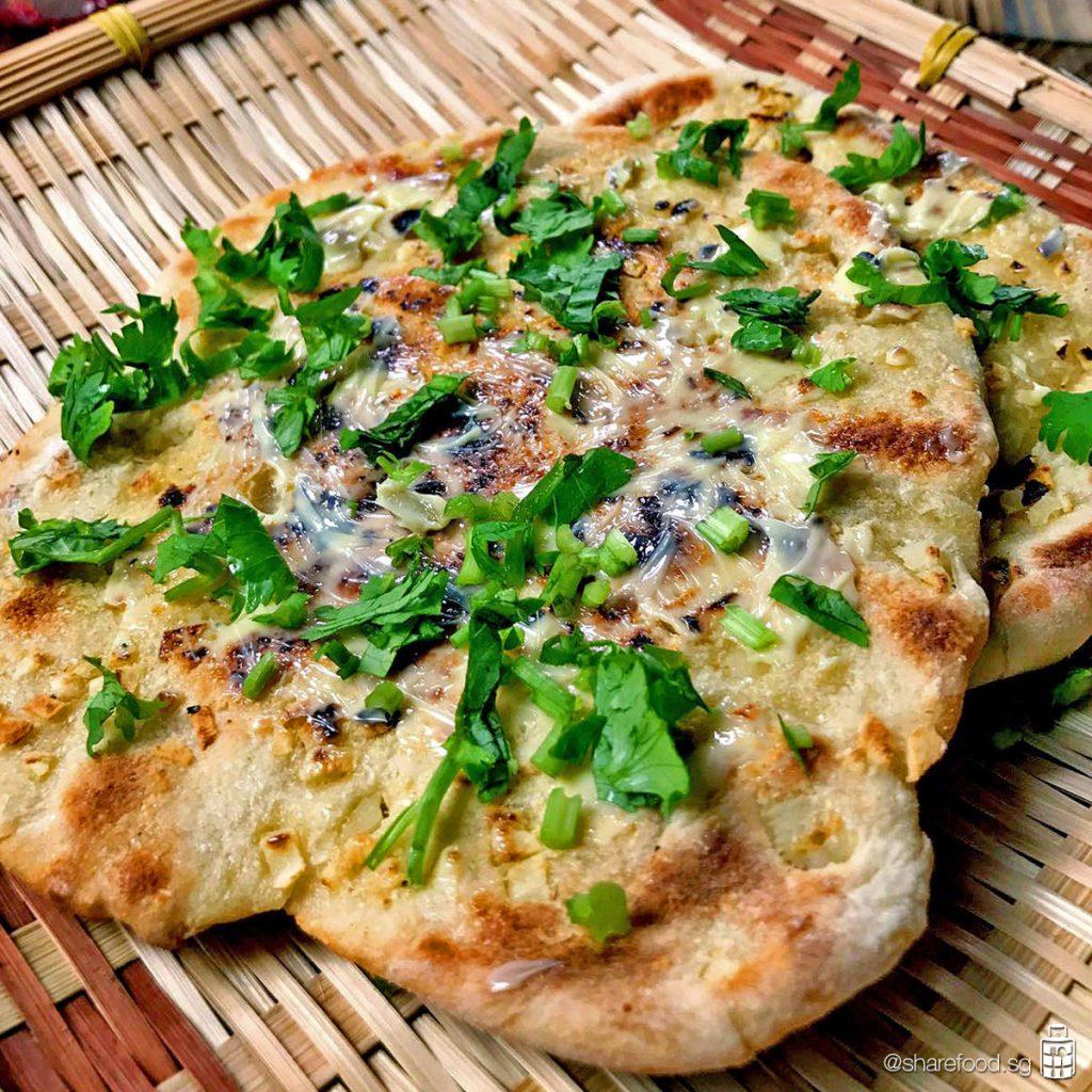 Indian Garlic Naan close up shot