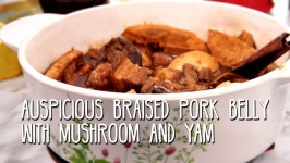 Auspicious Braised Pork Belly with Mushroom and Yam