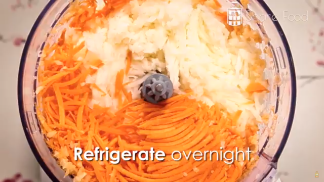 Shred the turnip and carrots and refrigerate overnight.