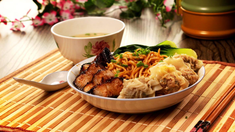 Homemade Wanton Noodles full shot