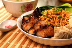 Homemade Wanton Noodles close up shot