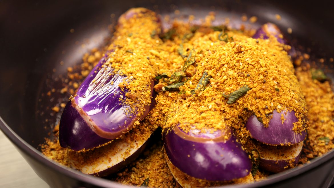 Cooking of the Nutty Brinjal Curry
