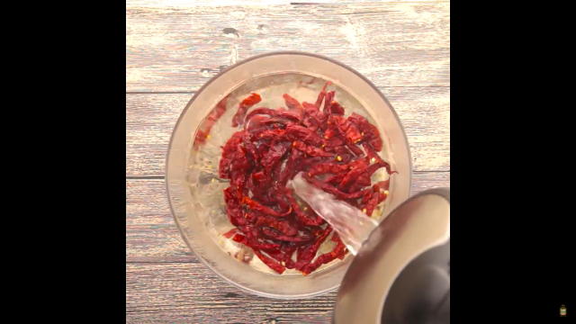 Soak dried red chilli till soften