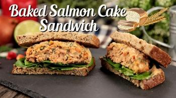 Baked Salmon Cake Sandwich