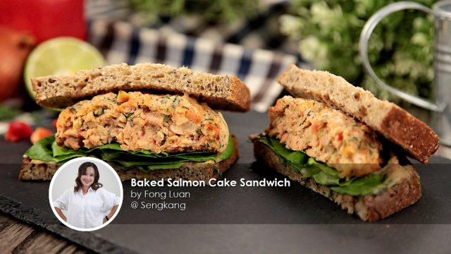 Baked salmon cake sandwich home cook fong luan creation