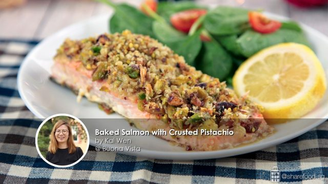 baked salmon with crusted pistachio home cook kai wen creation