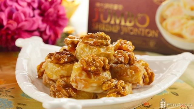 CP jumbo shrimp wanton with honey walnut close up, background CP jumbo shrimp wonton packing box