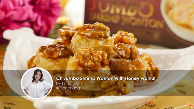 CP jumbo shrimp wanton with hone walnut home cook fong luan