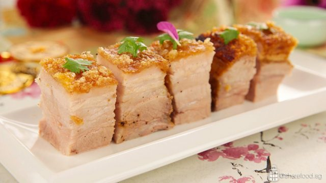 crispy roast pork close up