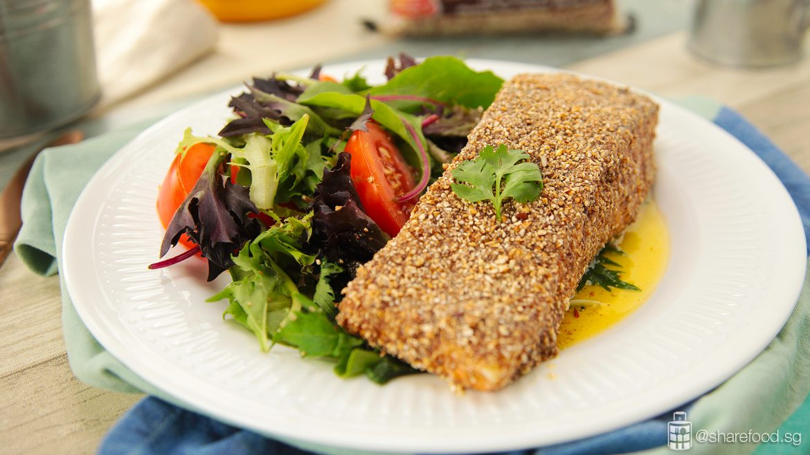 Brown Rice Crust Baked Salmon full shot