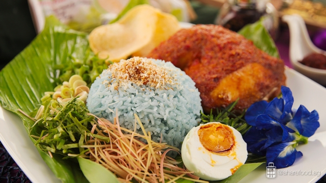 Nasi Kerabu malaysian signature dish close up shot