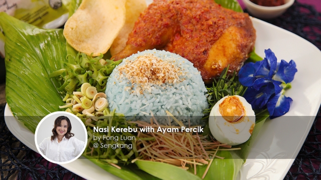 Nasi kerabu with ayam percik homecook