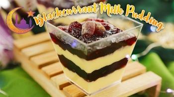 Blackcurrant Milk Pudding
