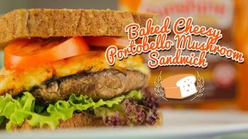 Baked Cheesy Portobello Mushroom Sandwich