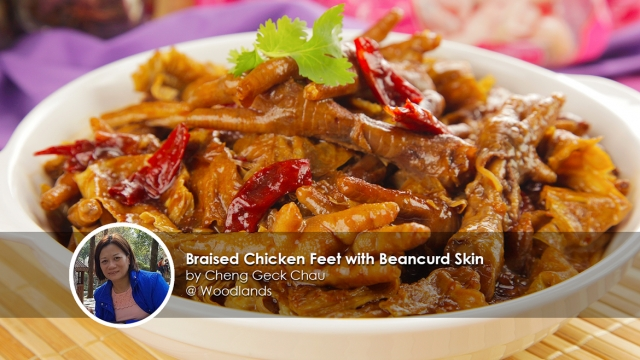 Braised Chicken Feet with Beancurd Skin Recipe - By home cook Cheng Geck Chau