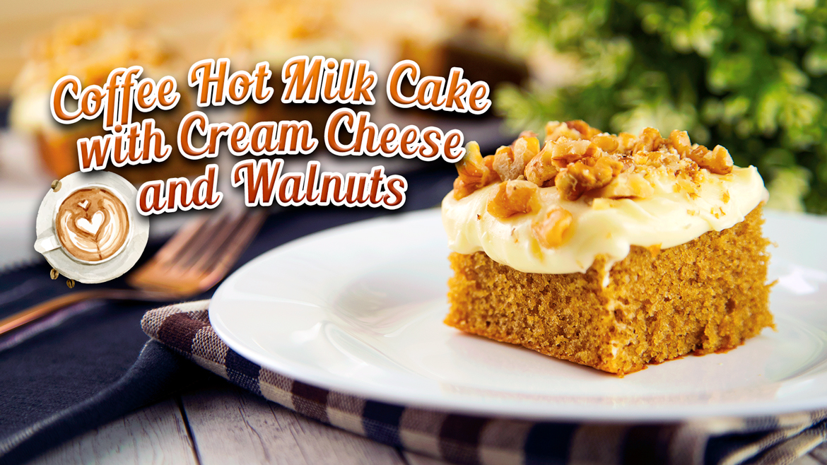 Coffee Hot Milk Cake with Cream Cheese and Walnuts - Featured