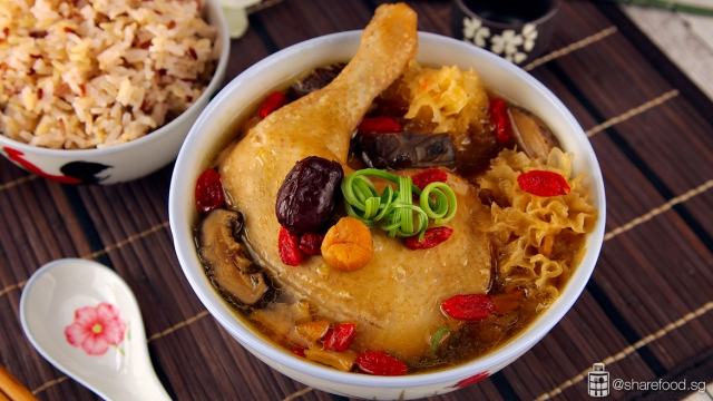 Traditional Snow Fungus Chicken Soup served with brown rice