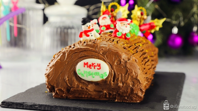 Chocolate and Coffee Christmas Log Cake with decorations