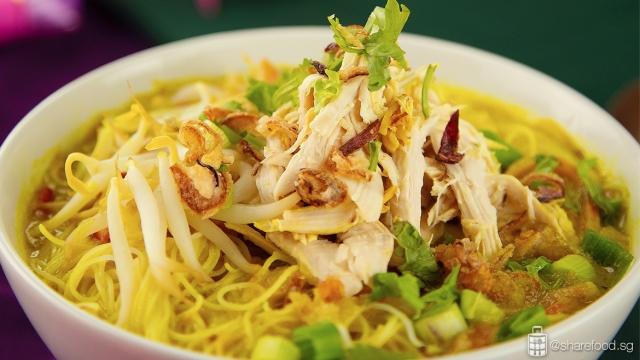 Indo-Style Bee Hoon Ayam Soto Dish close up