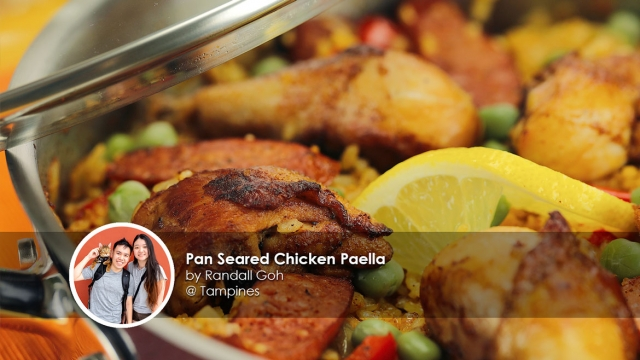 Pan Seared Chicken Paella Recipe home cook Randall Goh