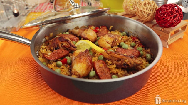 Pan Seared Chicken Paella served in Meyer Stainless Steel Pan