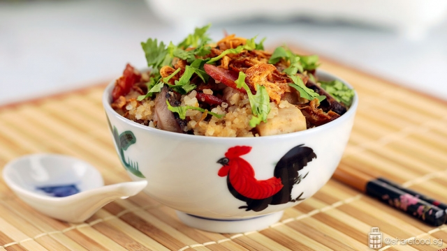 Claypot Fragrant Yam rice with Chicken dish served in traditional Chinese rice bowl