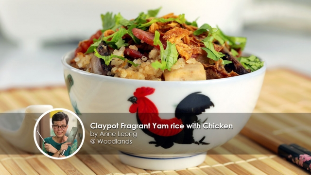 Claypot Fragrant Yam rice with Chicken recipe by home cook Anne Leong
