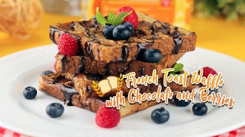 French Toast Waffle with Chocolate and Berries