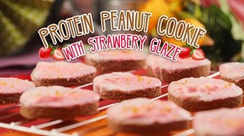 Protein Peanut Cookie With Marbled Strawberry Glaze
