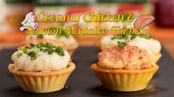 Creamy Chicken and Salmon Mentaiko Tartlets