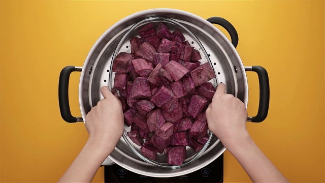 steam purple sweet potato for 20 minutes until soften