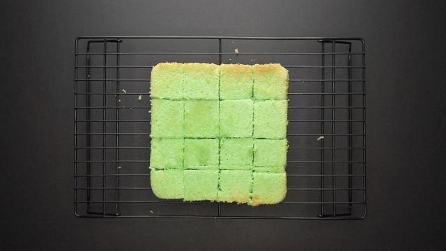 slice sponge cake into cube