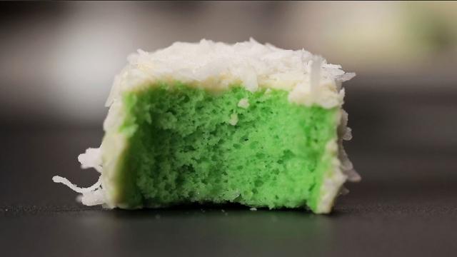 pandan green sponge cube cake