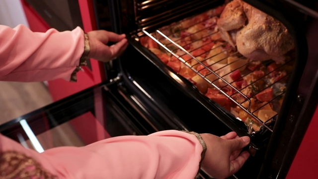 insert baking rack filled with vegetables into the oven