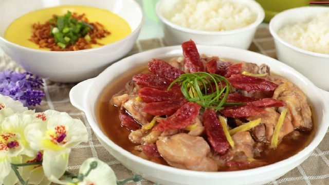Steamed Chicken with Chinese Sausage & Steamed Egg