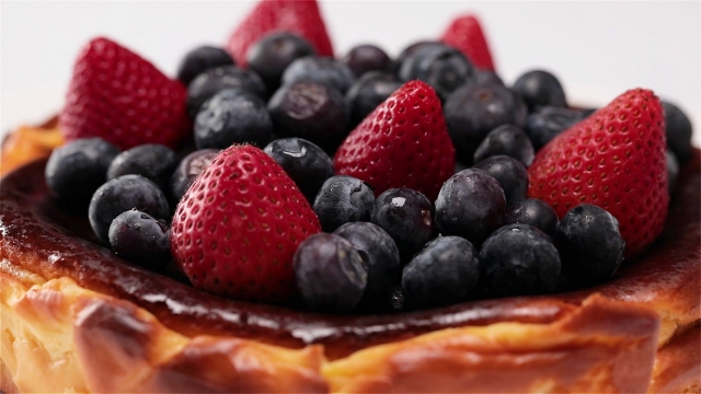 top the cake with fruits
