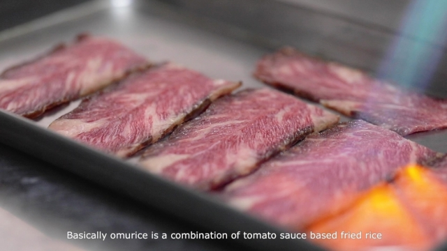 torching thinly sliced beef