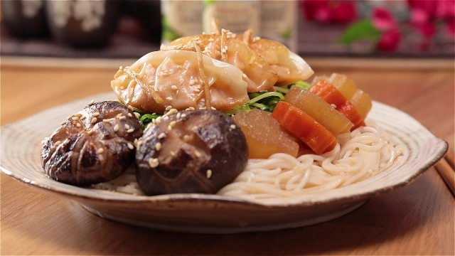 Japanese Soba with Dumplings, Carrots, Radish, Mushrooms and Enzyme Ginger Sauce