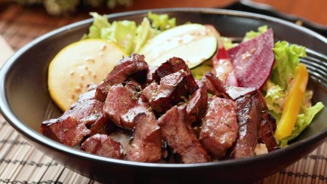 Senri Ox tongue with salad and rice