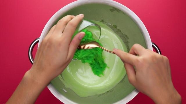Adding Chendol to pandan cake batter