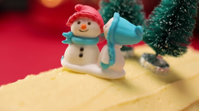 Christmas cake decor on chendol log cake